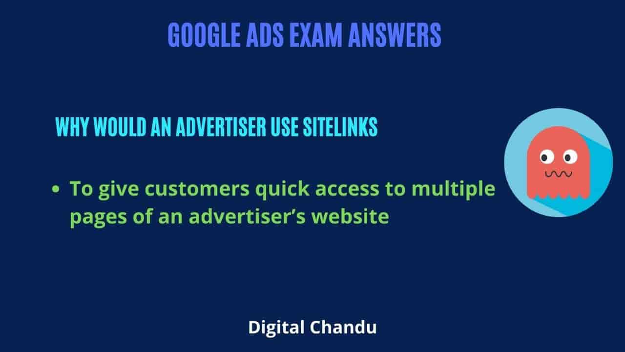 To give customers quick access to multiple pages of an advertiser's website