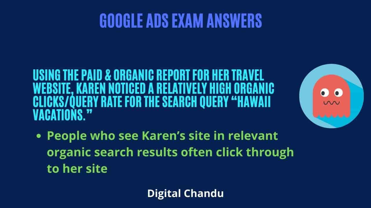 People who see Karen's site in relevant organic search results often click through to her site