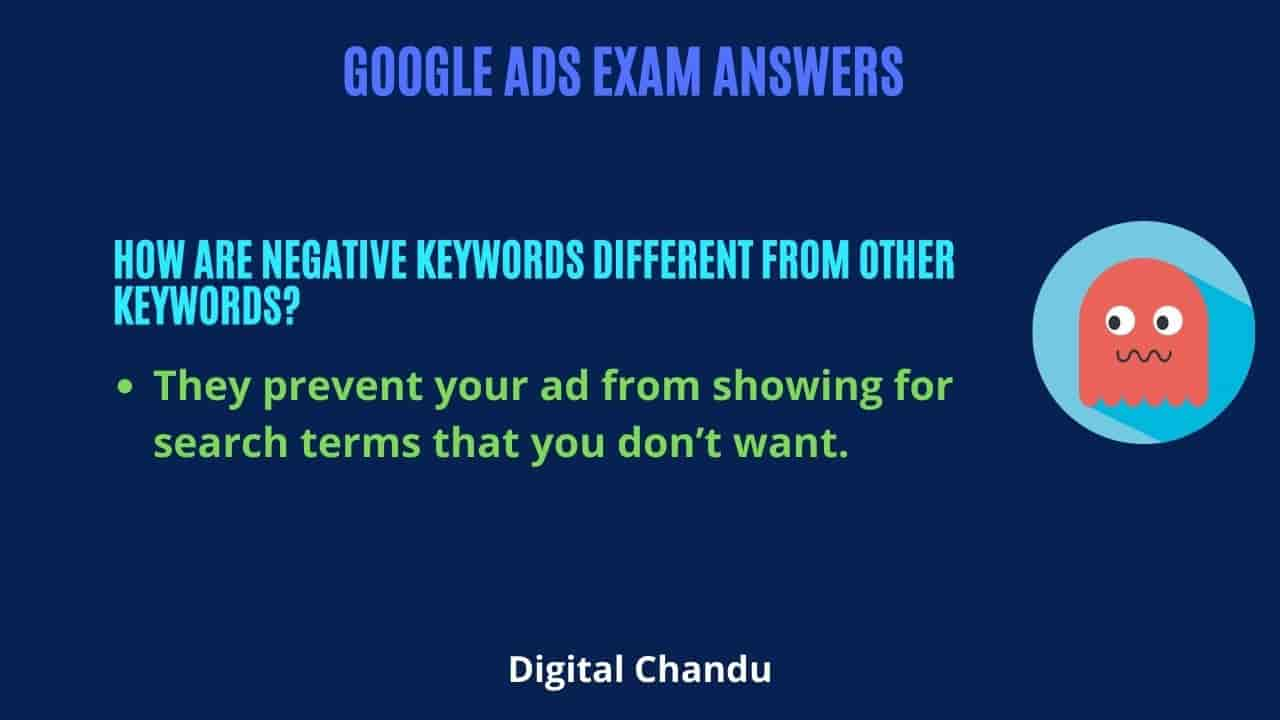 How are negative keywords different from other keywords?