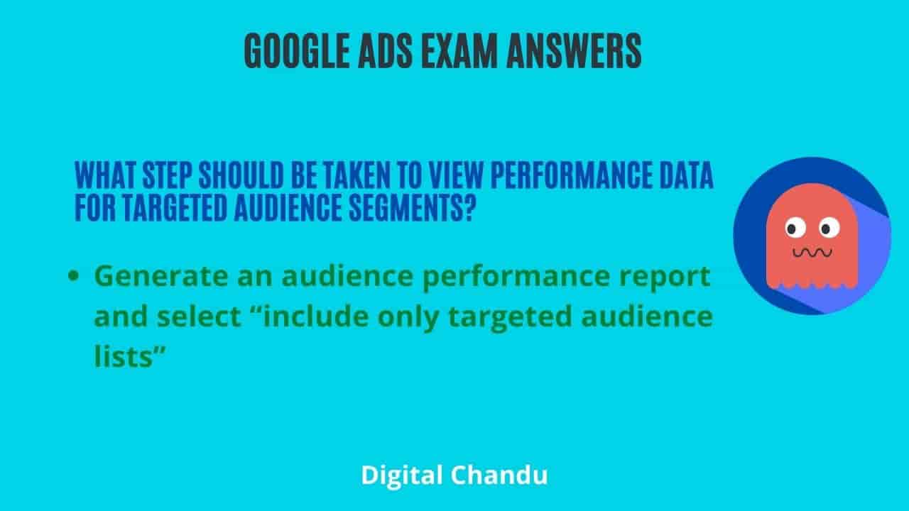 What step should be taken to view performance data for targeted audience segments?