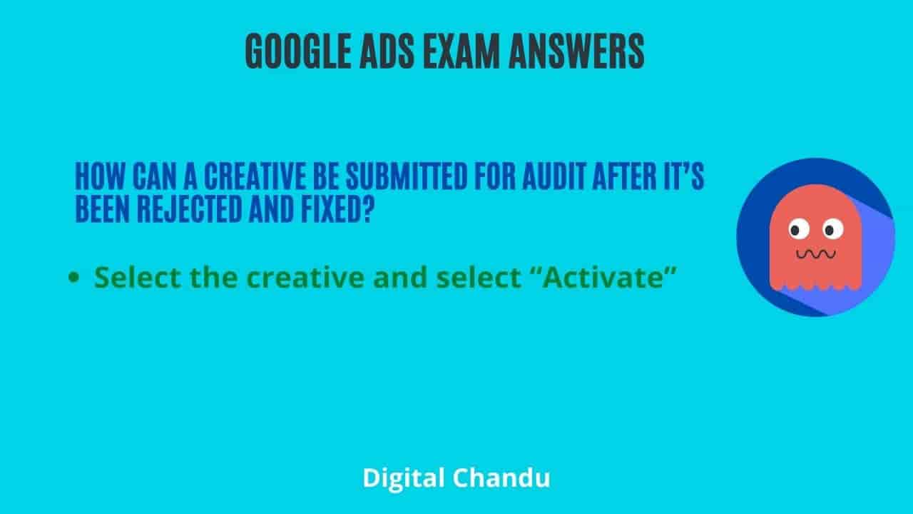 How can a creative be submitted for audit after it's been rejected and fixed?